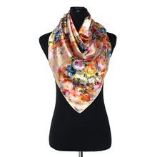 BFDADI Elegant Women Large Square Silk Scarf Printed,93*93cm Fashion Spring Summer Printing On Both Sides Scarf Shawl For Ladies