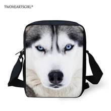 TWOHEARTSGIRL Cool Printing Animal Husky Dog Messenger Bag for Women Mini Children Kids Crossobody Bag Small Girls Messenger Bag(China)
