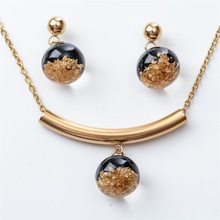 Necklace earrings sets stainless steel jewelry gifts women her wife girlfriend gold silver color wholesale dropshipping JN119(China)