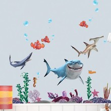 New Fish Seabed General Mobilization Cartoon Nemo Bathing Wall Stickers Decor Removable Vinyl Nursery Kids Room(China)