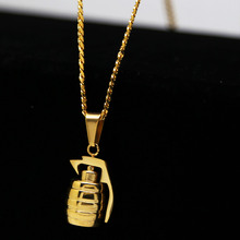 Mens pure gold color Military Style War Grenades Pendant w/3mm 24inch Miami Cuban Chain Hip hop Golden Bomb Necklace(China)