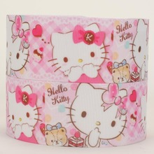 "NEW 10 yards1/2""38mm pink hello kitty ribbon printed grosgrain ribbon free shipping"