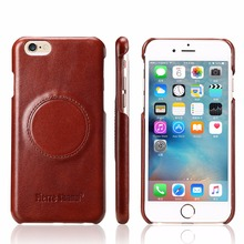 Discount Real Genuine Cow skin Natural Cowhide Leather Back Case Business Retro cover for iphone 7 / 7 plus Good to use in car(China)