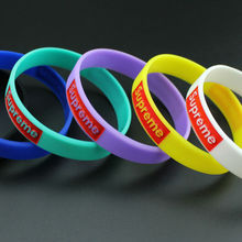 Street Fashion LOGO Brand Supreme Derivatives Silicone Round Sport Gift For Hipster Man Boyfriend Bracelets Wristbands