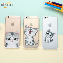 KISSCASE Cute Cover For iphone 5 5S SE 7 6 6Plus Case Lovely Cat Ultra Thin Soft Silicon Crystal Clear Shell For iphone 7 Case