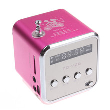 Mini Portable Magenta Speaker Micro SD TF USB FM Radio for PC Cell Phone MP3