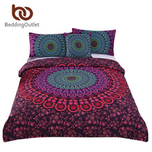 BeddingOutlet Bohemian Bedding Set Mandala Duvet Cover Set Posture Million Romantic Soft Bedclothes Plain Twill Boho 4 Pieces(China)