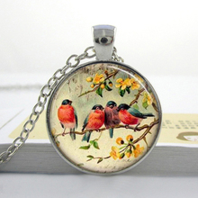 Womens Necklace Fashion 2014 Bird Glass Necklace Red Robin Bird Glass Tile Necklace Pendant HZ1(China)