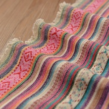 Pink stripe cotton cloth sofa towel cloth national dress clothes hold pillow cushion curtain fabric