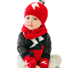 3 PCS Warm Baby Set Knitted Infant Hat Scarf Glove Set Lightning Pattern Crochet Baby Hat With Ball Winter Baby Boys Clothing(China)