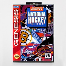 16 bit Sega MD game Cartridge with Retail box - ESPN National Hockey Night game card for Megadrive Genesis system