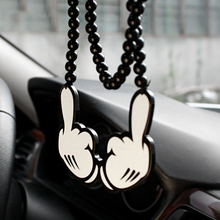 Acrylic Fashion Despise Hands Hip Hop JDM Rear View Mirror Car Pendant Charms Ornaments Hanging Suspension Car Styling Necklace(China)