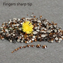 400pcs SS6-SS30 Mixed Size charming beautiful Dark Brown 14 facet round diamond sparkling acrylic nail art decoration N18(China)