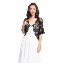 New Summer Hot Selling Fashion hand knitted Women's Brand See Through 2 Colors Shrug Short Sleeve Cardigan party Casual Clothing