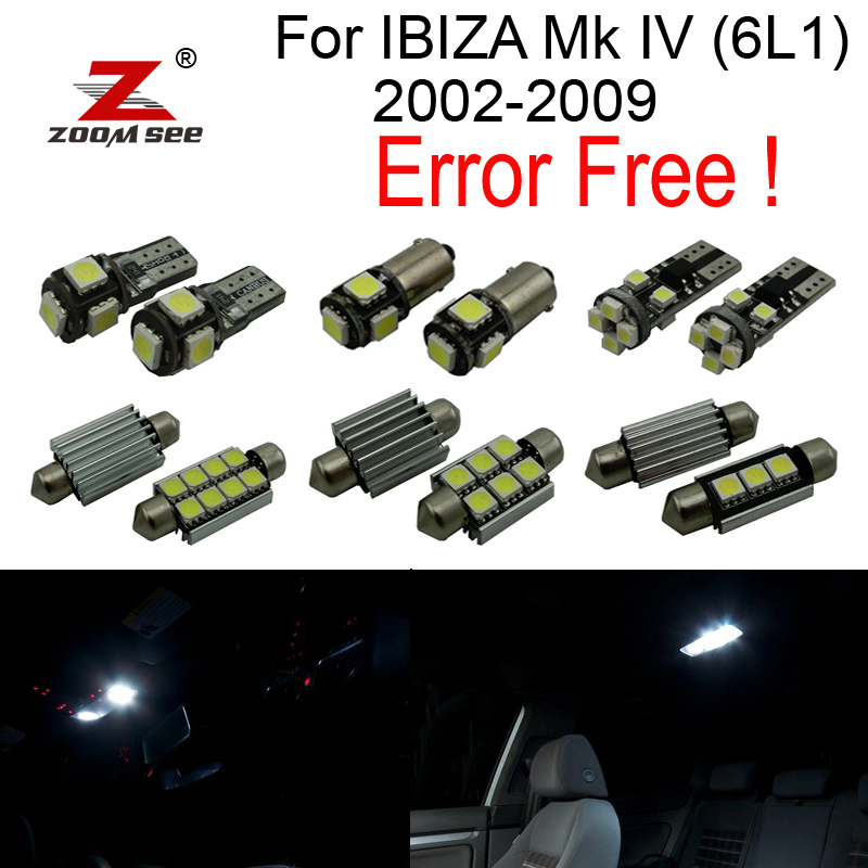 12pcs LED License plate bulb + Reverse lamp + Parking city + Interior dome Lights for Seat for IBIZA MK4 Mk IV ( 6L1 ) 2002-2009<br>