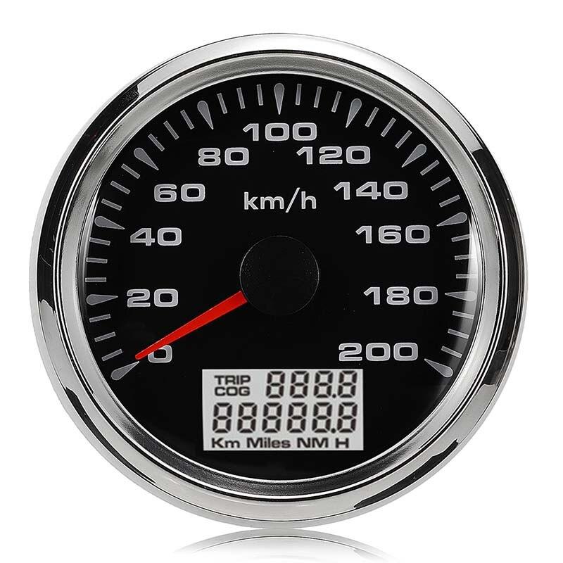 New 85mm GPS Speedometer 200km/h GPS Speedometer Gauge 9-32V Seven-color backlight Motorcycle Marine Boat Buggy 9