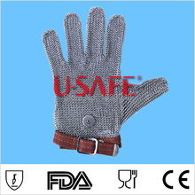 Hot Sale Item U Safe brand 304L stainless steel welded wire mesh self defense gloves industrial safety gloves metal mesh glove(China)