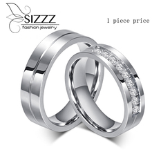 Couple Rings for Women Men Zirconia Wedding Ring White Stainless Steel Jewerly alliances of marriage love ring(China)