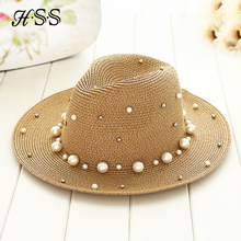 Summer British pearl beading flat brimmed straw hat Shading sun hat Lady fashion beach hat Jazz hat(China)