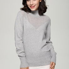 100% Pure Cashmere Knitted solid Color  Keep Warm Winter Thick Turtleneck Long Sleeve Ladies sweaters Shirt for women lady's