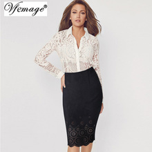 Vfemage Womens Elegant Hollow Out Suede Leather High Waist 2017 Spring Casual Wear to Work Party Bodycon Pencil Skirts 4620(China)