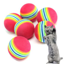 Hot Sale 3 Pieces Colorful Pet Cat Kitten Soft Foam Rainbow Play Balls Activity Toys Funny
