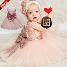 Summer Baby Girl Clothes Bow Lace Wedding Dresses Ball Gowns Children Infant mint green Dress Vestidos TG5