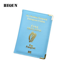 IRELAND Coutry PU Leather Passport Cover Women Travel Passport Holder Men Credit ID Card Bags Airport Passport Case(China)