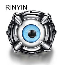 Hot Sale Finger Art Antique Silver Retro Titanium Stainless Steel Ring Punk Biker Jewelry Evil Claw Catch Blue Eye Ring