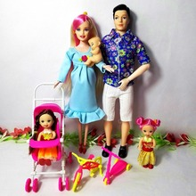 Toys Family 5 People Fashion Dolls Suits 1 Mom /1Dad /2 Little Kelly Girl /Baby Son/1 Baby Carriage Real Pregnant Doll Girl Gift