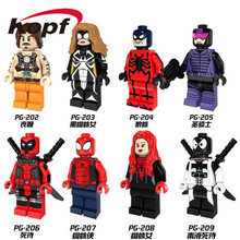 Single Sale Super Heroes Wolf Black Spider Girl Venom Deadpool Bricks Action Figures Building Blocks Children Gift Toys PG8057