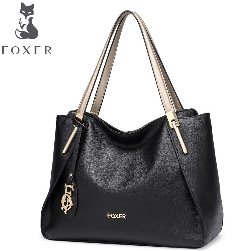 FOXER new superior cowhide women genuine leather bag famous brands women leather handbags fashion black leisure shoulder bag<br><br>Aliexpress