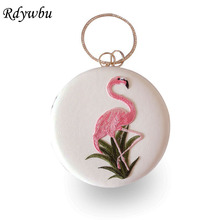 Rdywbu Luxury Round Flamingo Embroidery Evening Bag Circular Chain Clutches Wedding Party Metal Ring Handbag Banquet Purse B540(China)