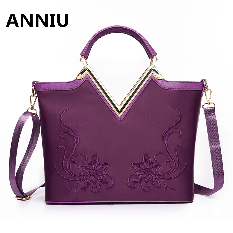 ANNIU 2017 New Arrival Women designer Delicate Embroidery Handbag Waterproof Nylon Lady shoulder bags demale crossbody bag<br>