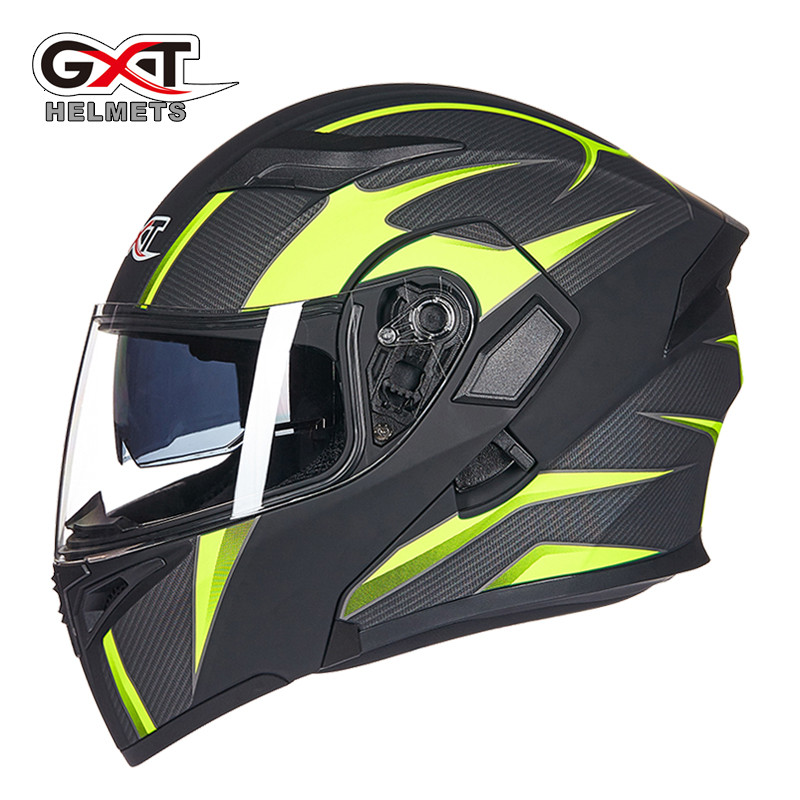 GXT Motorcycle Flip Up Helmet Modular Casque Moto Cycling DOT Helmets Black Sun Visor Safety Double Lens Racing Off-road Helmet title=