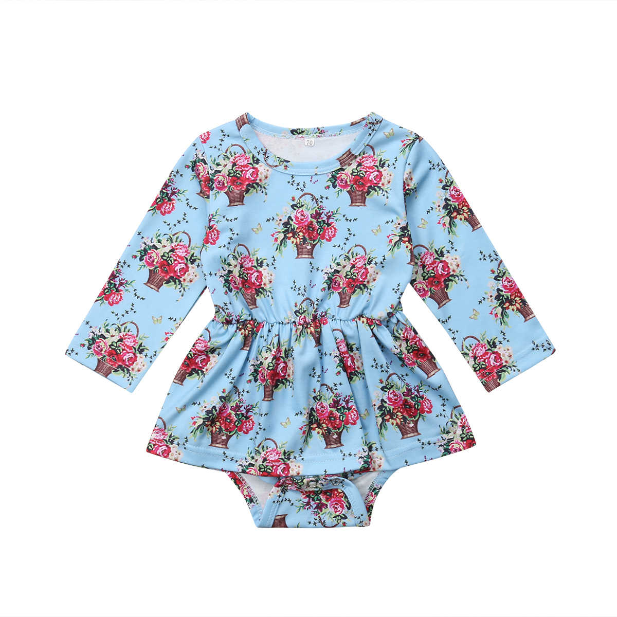 b47cd1967 Newborn Baby Girl Clothes Autumn Long Sleeve Romper Floral Dress Bodysuit Clothes  Outfits