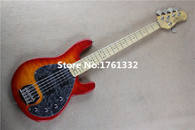 Wholesale factory custom 5 strings cherry sunburst electric bass with initiative circuit,big flower line,can be changed