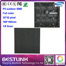 32*32 pixel LED module p5 SMD outdoor full color 160*160 mm led panel for outdoor led advertising screen led message sign board