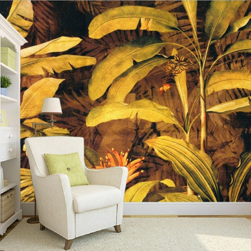 Free shipping 3D custom personality banana leaves background wallpaper bedroom living room decorative mural<br><br>Aliexpress