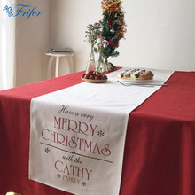 1pc European Christmas Theme Table Runner Soft Cotton Linen Table Cloth Cover Xmas Tablecloth Home Textile Christmas Supplies