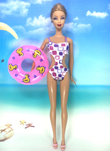 NK Doll Swimwear Beach Bathing Clothes Swimsuit+Slippers+ Swimming Buoy Lifebelt Ring For Barbie Doll Best Girl' Gift 007J(China)