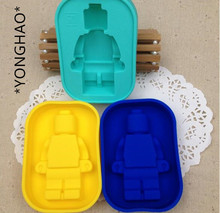 YONGHAO Hot New  Enduring Lego Mini Figure Robot Ice Cube Tray Mold Chocolate Jelly Jello Cake Silicone Mold Cake Tools