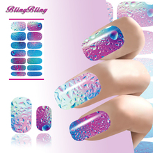 2PCS Fashion Nails Art Water Transfer Nail Sticker Mysterious Blue Ocean Drops 3d Nail Wraps Manicure Minx Decals