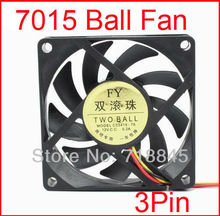 Free shipping Wholesale 10 pcs/lot Ball Bearing Style 12V 7CM 70MM 7015 3Pin Cooling Cooler Fan