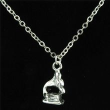 Free shipping R2021 21-3 Silver Phonograph Gramophone Music Pendant Chain Choker Collar Necklace 18""