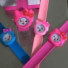 10 candy colors Hot Pink/rose/Color Hello Kitty Slap Watch Girls Cartoon kids Watch Silicone Rubber Wrist Watch(China)
