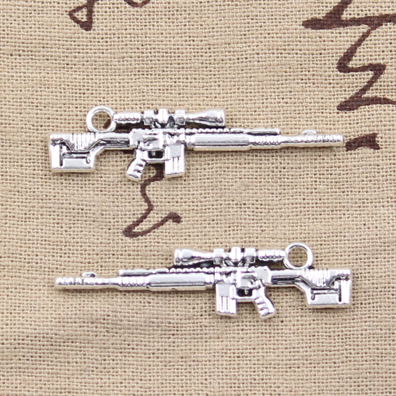Charms 10pcs Charms Gun Sniper Rifle 8x45mm Antique Silver Plated Pendants Making Diy Handmade Tibetan Silver Jewelry Jewelry & Accessories