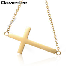 Davieslee Cross Pendant Necklace for Women Stainless Steel Rolo Link Gold  Silver LKNM147 bb60429fe836