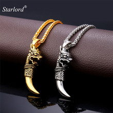 Starlord Retro Punk Wolf Tooth Pendant Necklace Stainless Steel/Gold Color Dragon Head Charms Amulet Men Jewelry GP1907(China)