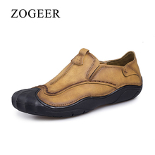 ZOGEER Brand New Men Shoes, Fashion Leather Men's Casual Shoes, 2017 Design Man Loafers, Safety Anti-collision Toe Shoe Moccasin